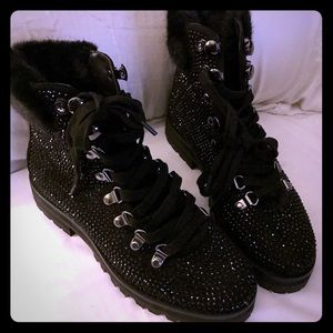 Express black crystal beaded boots size 7